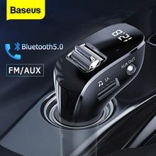 Baseus جهاز إرسال موجات FM للسيارة بلوتوث 5.0 راديو FM المغير عدة السيارة المزدوجة USB شاحن سيارة يدوي لاسلكي Aux الصوت مشغل MP3