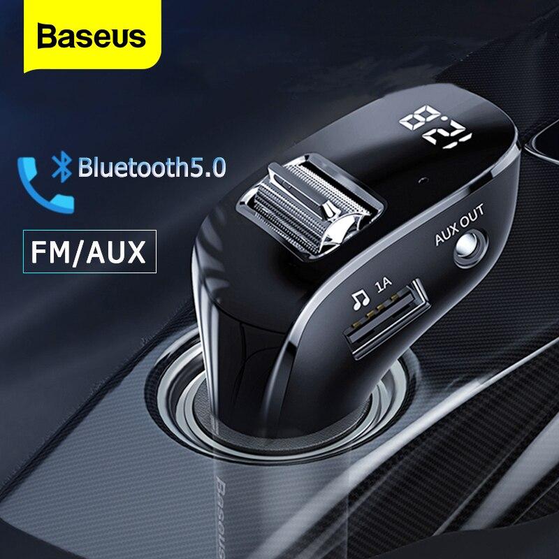 Baseus-transmetteur FM | Bluetooth 5.0, modulateur de Radio FM, Kit de voiture, double USB, chargeur de voiture, mains libres sans fil, Aux, Audio, lecteur MP3