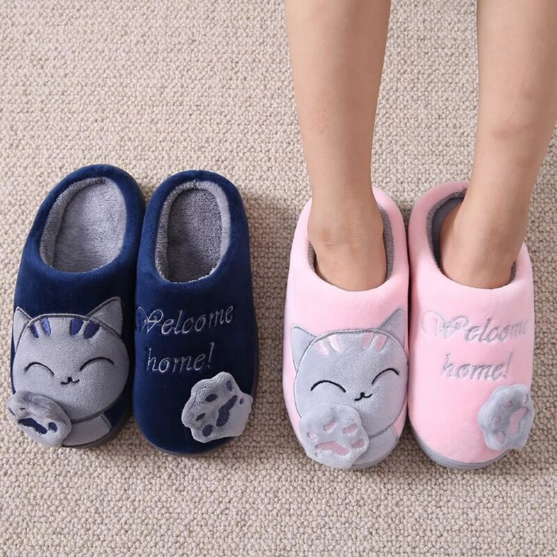 MoneRffi Women Indoor Winter Slippers Unisex House Slippers Lucky Cat Soft Slip On Slippers Fluffy Fur Warm Shoes Buty Damskie