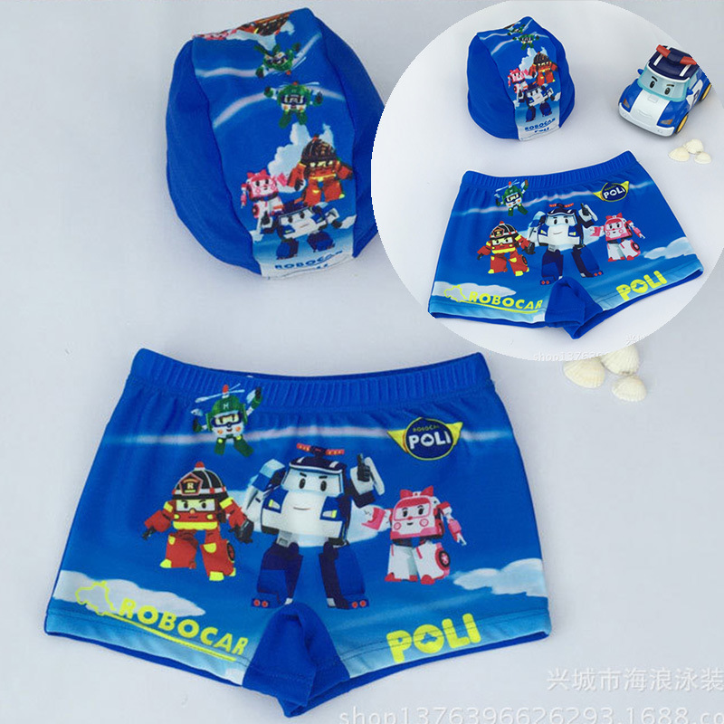 South Korea KID'S Swimwear Swimming Trunks Swimming Cap Baby Superman Boxers Infants Boy Large Size Swimsuit Set