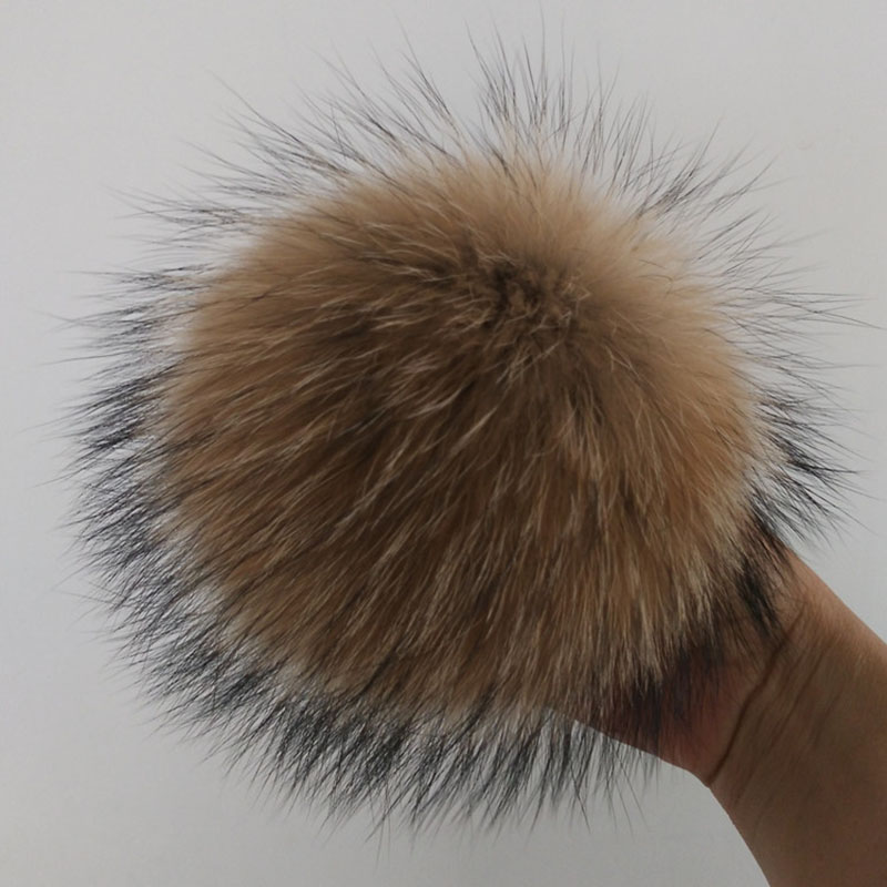 12 15cm Natural Animal Hairball Hat Ball Pom Pom  DIY Really Raccoon Large Hair Ball Wholesale Beanie PomPom With Buckle