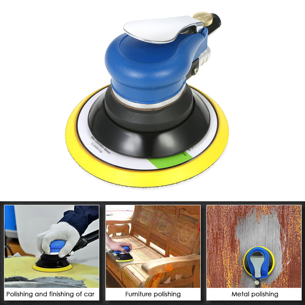 WENXING 6 Inches Air Sander with Vacuum 150mm Pneumatic Sander 6inch Air Sanding Machine Pneumatic Tools