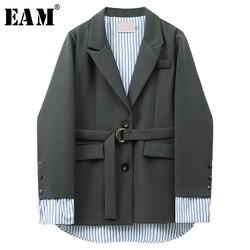 [EAM] Frauen Grün Striped Unregelmäßige Blazer Neue Revers Lange Hülse Lose Fit Jacke Mode Flut Frühling Herbst 2020 1X162