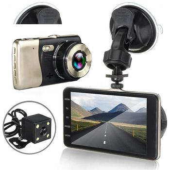 цена на 4 Inch Dash Cam Dual Lens Car DVR Vehicle Camera Full HD 1080P  Dash Cam Night Vision Video Recorder G-sensor Parking Monitor
