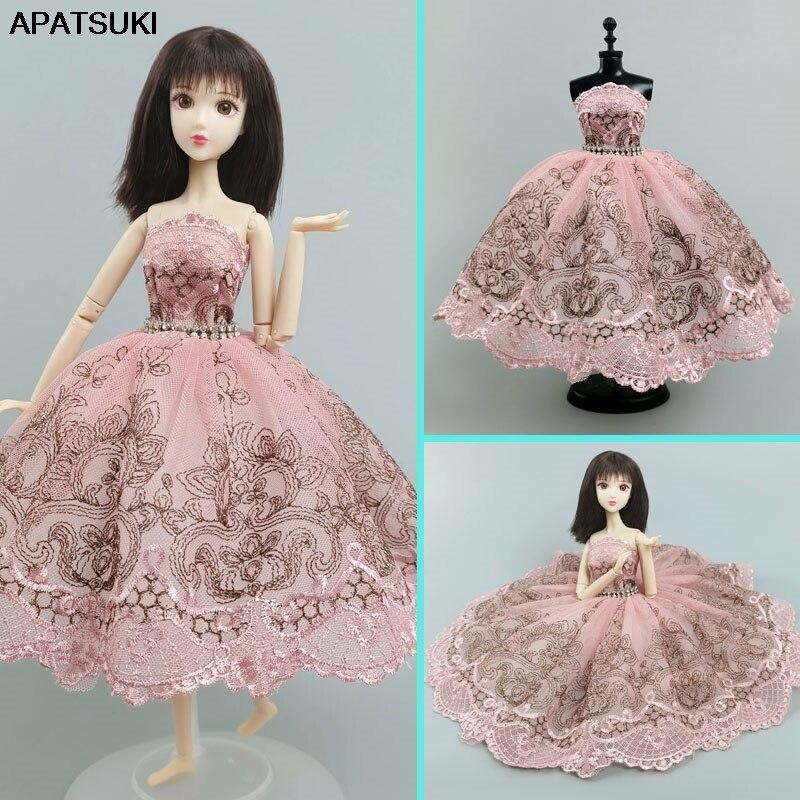 Розовое Кружевное балетное платье с юбкой пачкой платье для куклы Барби одежды 1/6 аксессуары для куклы Стразы 3 cлойная юбка; Вечерние платье игрушка «сделай сам»|Куклы|   | АлиЭкспресс