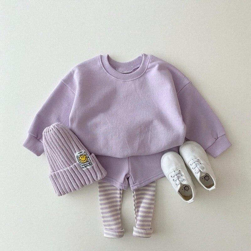 974.0¥ 43% OFF|MILANCEL 2021 Autumn New Baby Clothes Set Solid Hoodies and Pants 2 Pcs Boys Suit Ca...