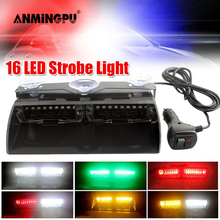 ANMINGPU 12V 자동차 비상 LED 스트로브 라이트 경찰 라이트 레드 블루 앰버 화이트 LED 성 노출증 비컨 경고 스트로보 스코프 라이트 FSO