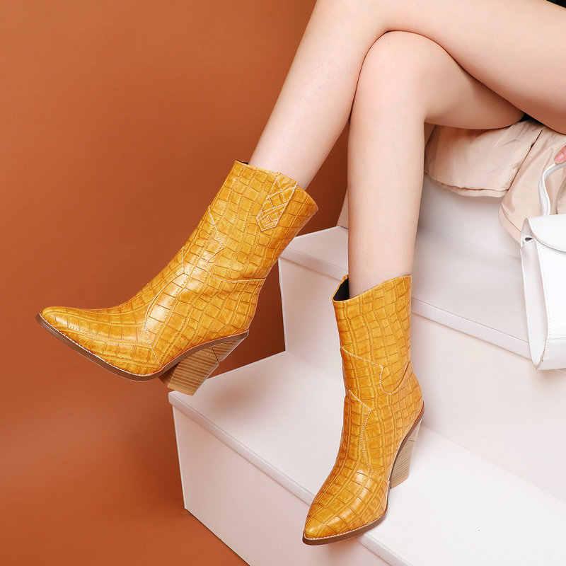 Sivri burun yüksek topuklu yarım çizmeler kadınlar için batı kovboy çizmeleri kadın 2019 kış kısa çizmeler siyah sarı kahverengi gri Winered