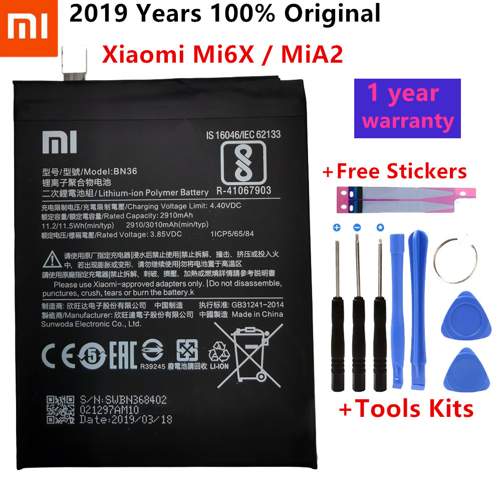 Xiaomi Original Replacement Phone Battery BN36 For Xiaomi Mi6X Mi 6X MiA2 Mi A2 Capacity 2910mAh Genuine Li-ion Battery Tools