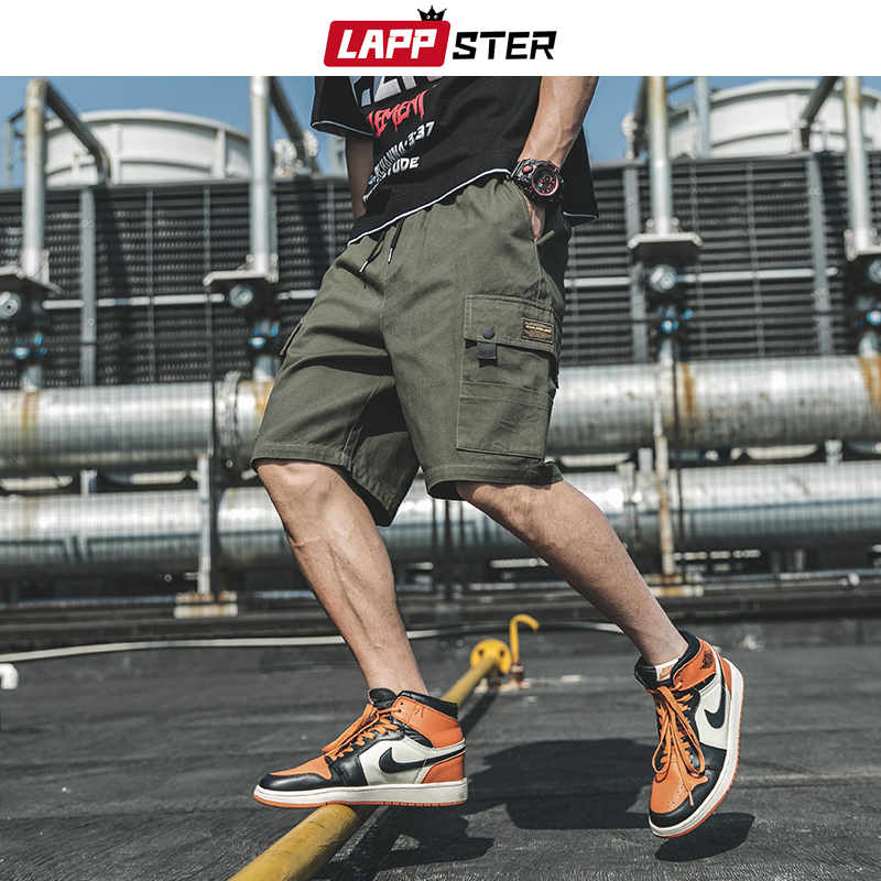 LAPPSTER Summer Camouflage Cargo Shorts 2020 Mens Basketball Camo Sweatshorts Army Green Sweatpants Plus Size Cotton Clothing
