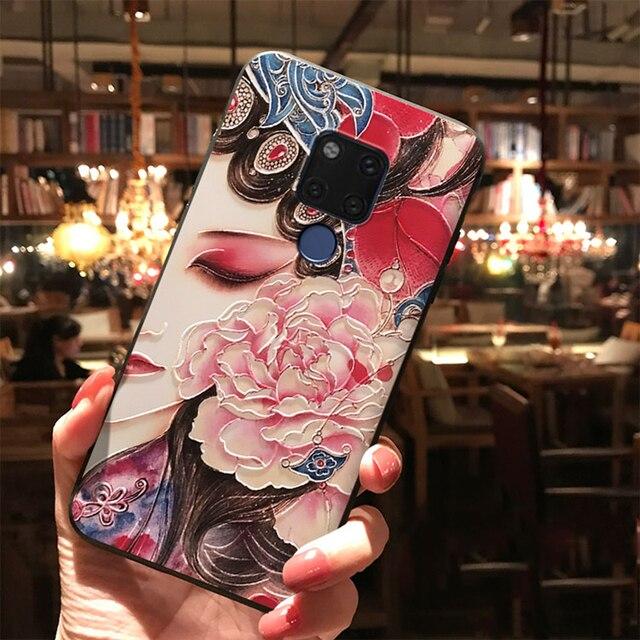 3D Emboss TPU Case For Huawei P Smart 2020 2019 P40 P30 P20 Honor X10 9A 9S 8X 9X 10i 20 10 9 Lite Pro Y6 Y7 Y9 Flower Cover Bag 4
