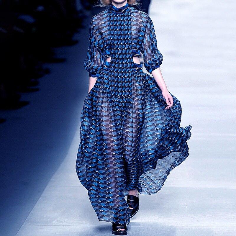 Linglewei New Spring and Summer Women's Dress new fashion print waist hollow dress