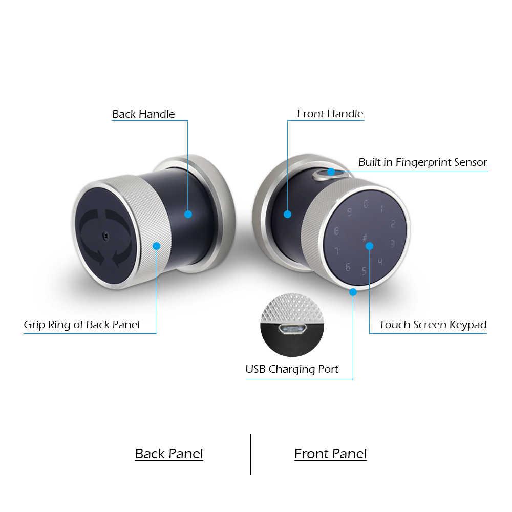 สังกะสีอัลลอยด์ App ล็อค biometric ลายนิ้วมือ wifi ดิจิตอล RFID ประตูล็อคกันน้ำปุ่มกดสมาร์ทประตูล็อค