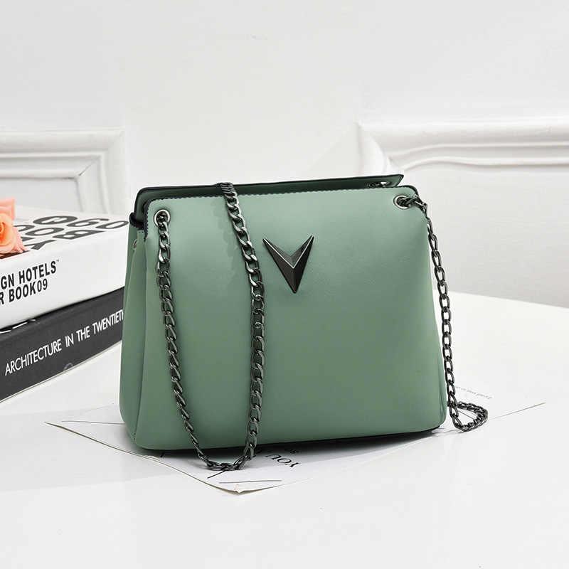 حقائب كتف سلسلة صغيرة للنساء حقيبة جلدية صغيرة Crossbody السيدات بسيطة حزام سستة حقيبة ساعي السهم المال الحقيبة