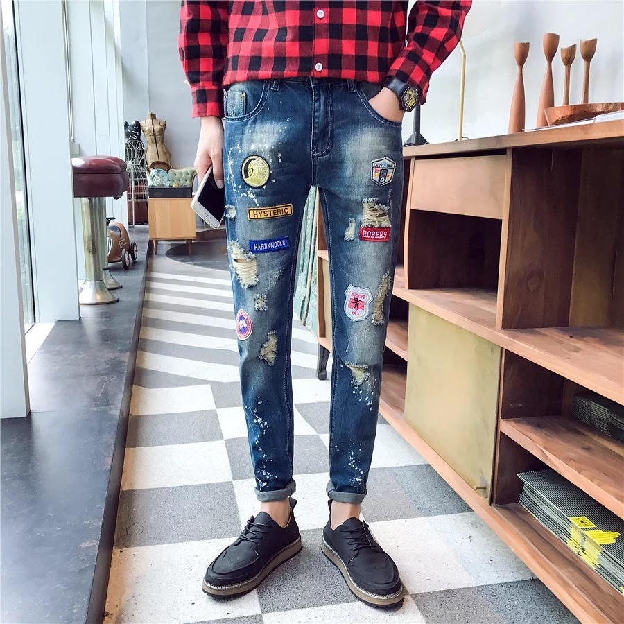 2018 Trend Autumn New Style Men Korean-style Teenager Slim Fit Fashion Man Born Cool Trousers Knee With Holes Cowboy