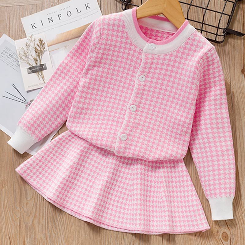 Autumn Winter Plaid print Sweater Dress Set Casual Girls Clothing Sets Girls Clothes Suit Children Clothes Kids Clothing Sets 16