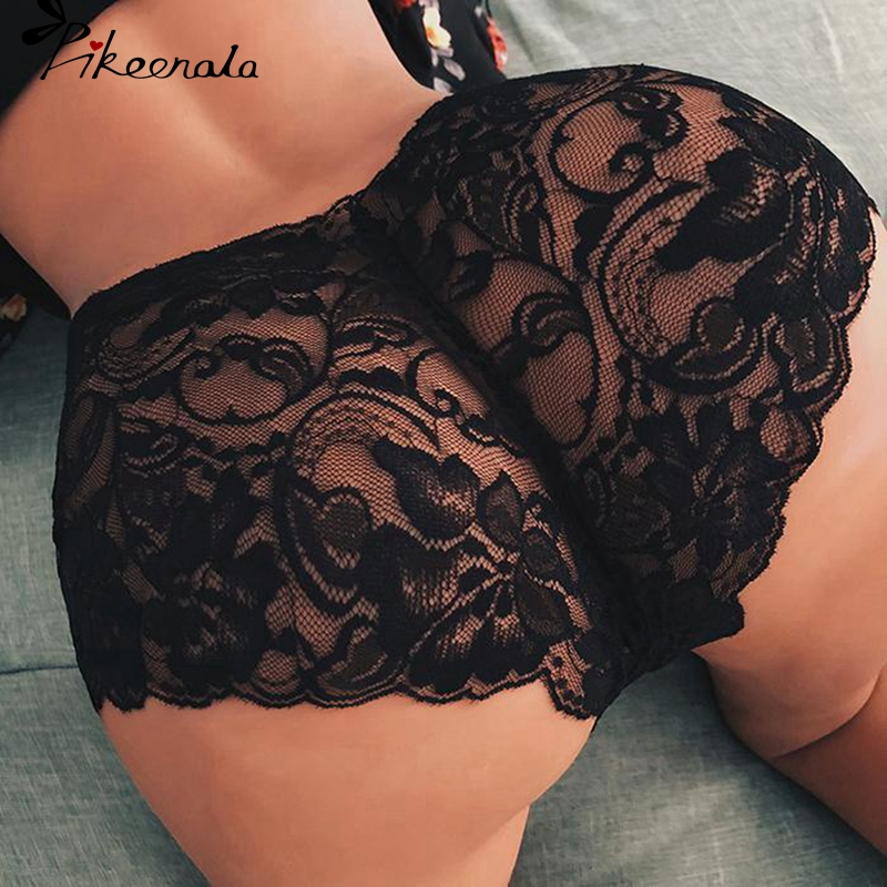 2Pcs Sexy Panties For Women Black White Lace Floral Flower Underwear Briefs Thin Hollow Panties Elastic Underwear Plus Size 5XL