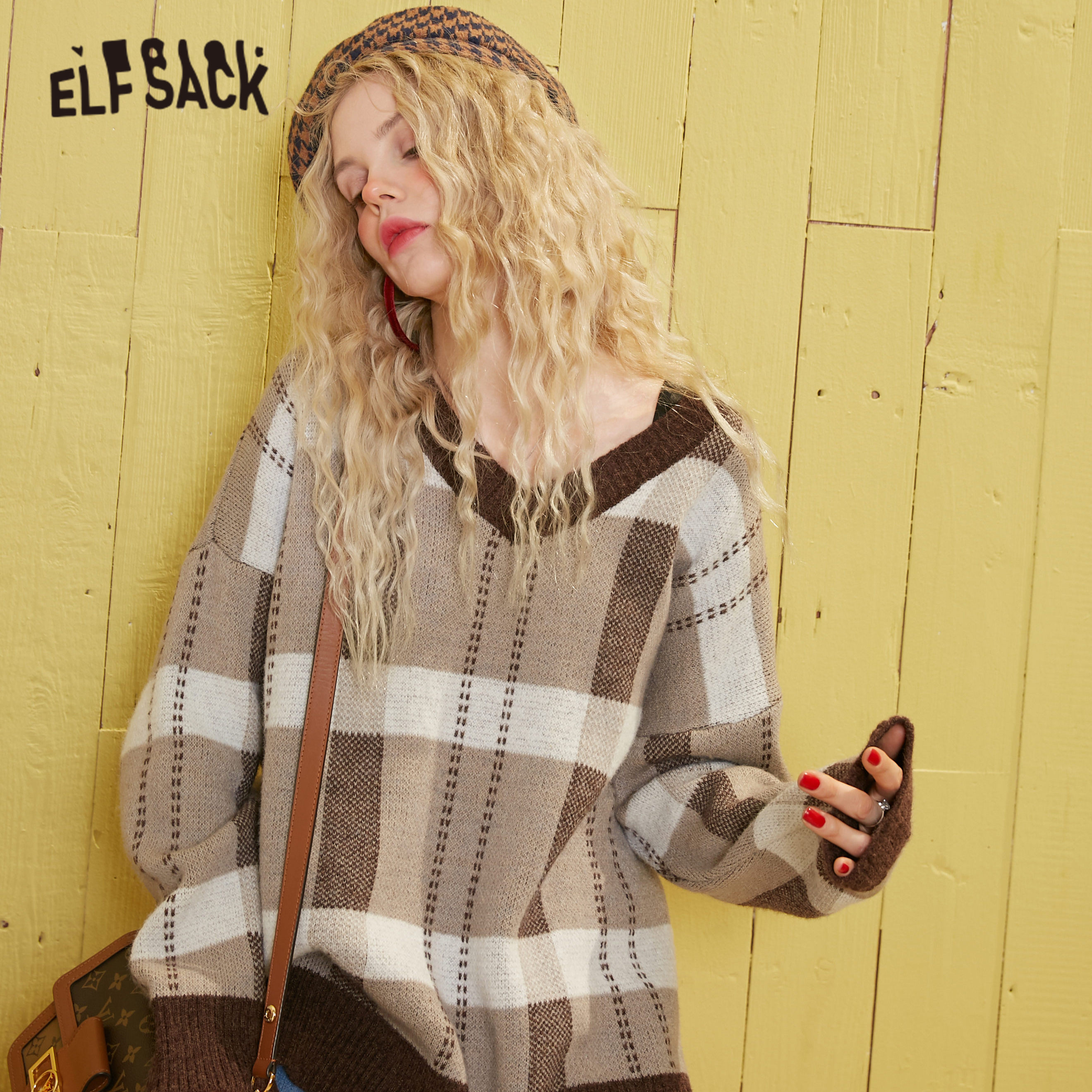ELFSACK Brown Plaid British Style Jersey Pullover Sweater Women 2020 Spring Blue Vintage Long Sleeve Ladies Casual Daily Top