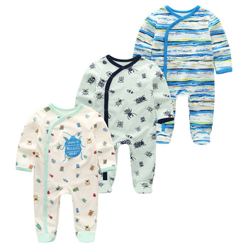 0-12Months Baby Rompers Newborn Girls&Boys 100%Cotton Clothes of Long Sheeve 1/2/3Piece Infant Clothing Pajamas Overalls Cheap - Baby Rompers RFL3201, 6M