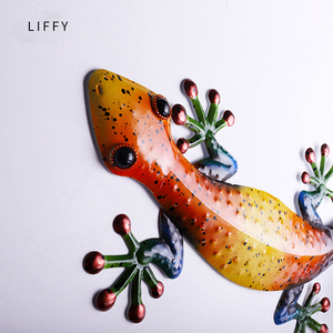 Image 4 - Metalowy gekon dekoracja ścienna zwierzęta zewnętrzne do dekoracji ogrodu posągi i miniaturowe akcesoria ogrodowe rzeźby