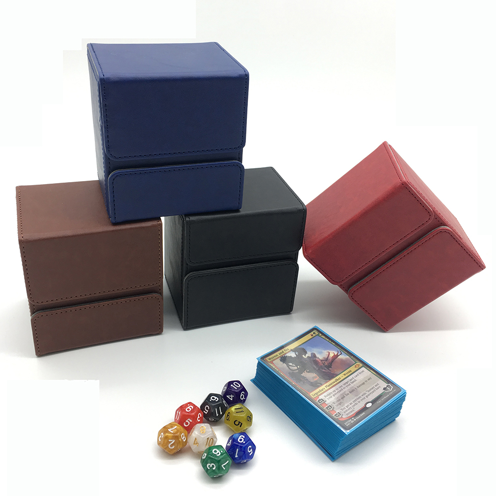 New Style Trading Card Deck Case for Magic/Pokemon/YuGiOh Cards Deck Box: Black, Wine Red, Blue, Brown(China)