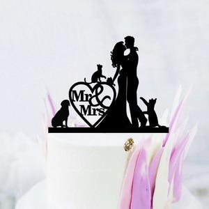 Топпер для свадебного торта для домашних животных, собак, кошек, Mr Mrs, невесты, жениха, акриловые черные топперы для тортов, украшение для сва...