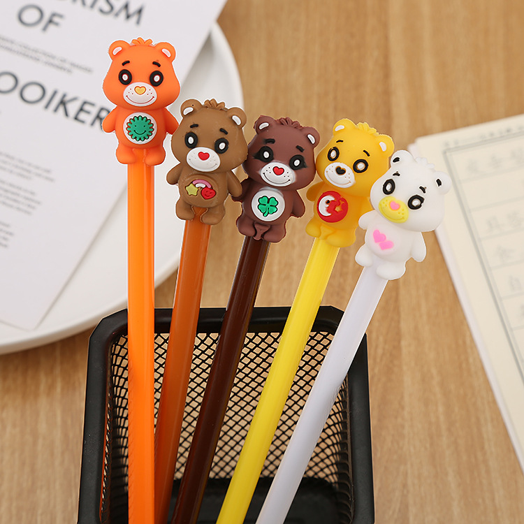 Cartoon Bear Gel Pen Cute Student Office Stationery School Water Gel Ink Pen Black Ink Signature Pen Escolar