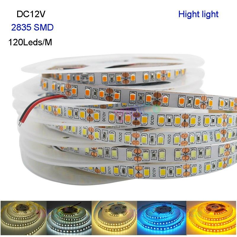 Luz de tira conduzida flexível nova luz da altura 5m dc12v 120 leds/m 2835 smd ip20 branco/branco morno/branco/azul/gelo azul/amarelo dourado
