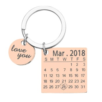 Personalized Calendar Keychain Custom Keychain Stainless Steel Gold Color/Silver Rose /Gold Color Krings