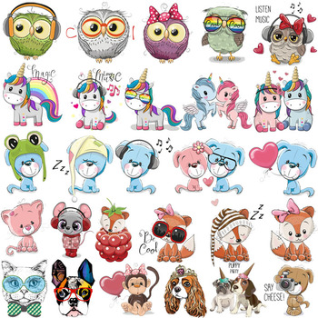 Cute Animal Patch Iron on Transfer Cartoon Mouse Unicorn Owl Bear Patches for Kids Clothing Applique Heat Vinyl Sticker