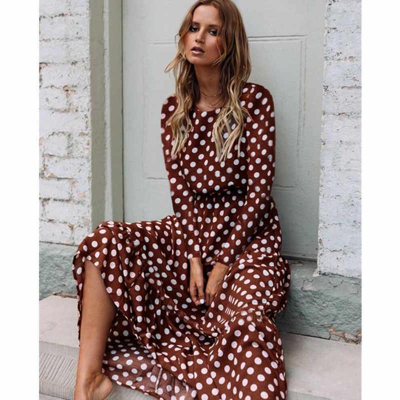 Oufisun 2019 été sans manches à pois robe bohême épaule dénudée femmes robes mode élégant brun nouvelle longue robe Vestido
