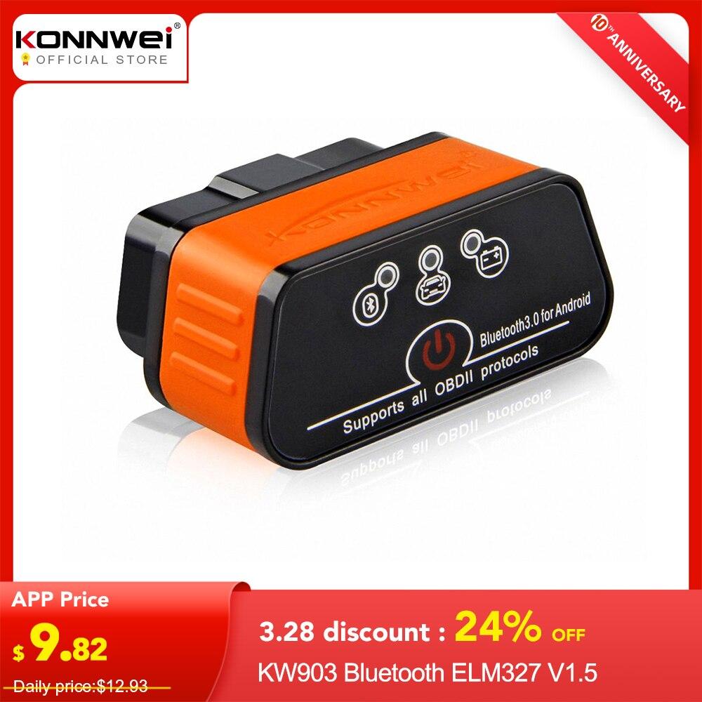 ELM327 OBD2 Scanner Auto Scanner ICar2 KONNWEI Bluetooth ELM 327 V 1.5 Car Diagnostic Tool EML327 OBD 2 Scanner Eml327 V1.5