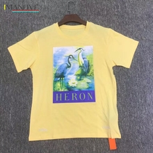 Heron Preston T Shirts 18SS Men Women 1:1 Red-crowned Crane T-shirt Embroidery Yellow Apricot Tshirt