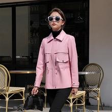 Popular Autumn Spring New Fashion Genuine Leather Jacket Cute Pink Garment Medium Length Lady Sheepskin Coat High Quality