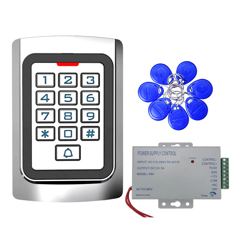 Access Control Gate Motor Keypad/RFID Reader 125KHz Wiegand 26 Illuminated Metal Indoor Outdoor IP68 +10 ID Tags+power Supply