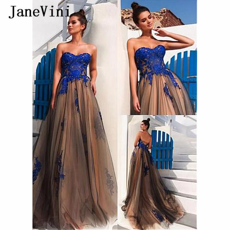 JaneVini Fashion Arabic Long Prom Dresses A Line Strapless Lace Applique Sleeveless Tulle Sweep Train Vestido De Noiva Plus Size