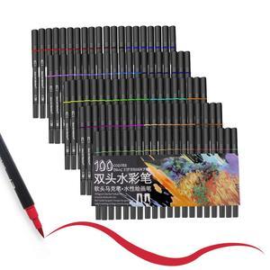 Image 3 - 48/60/72/100 ألوان مائية علامات لرسم مجموعة أدوات رسم المهنية المياه تلوين فرشاة مجموعة أقلام طرف مزدوج للمدرسة