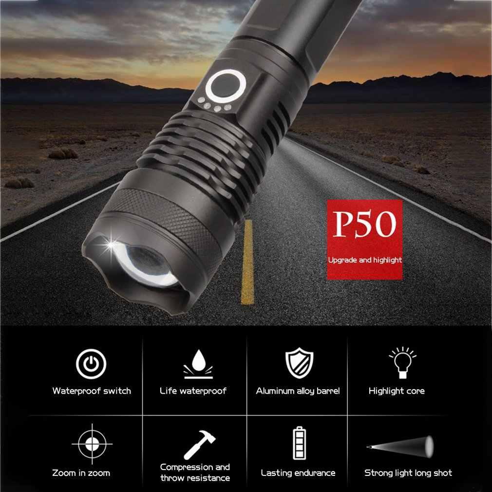 P50 Sterke Optische Display Led Lange Afstand P70 Telescopische Zoom Nacht 3200Mah Usb Opladen Licht Zaklamp