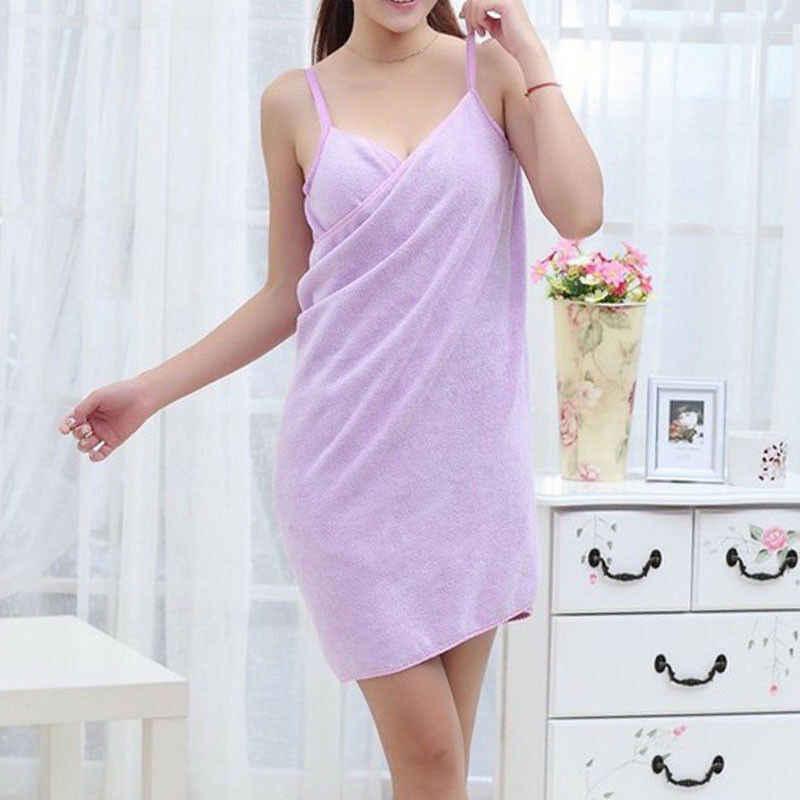 2019 홈 섬유 타월 여성 목욕 가운 착용 수건 드레스 레이디 빠른 건조 비치 스파 마법의 잠옷