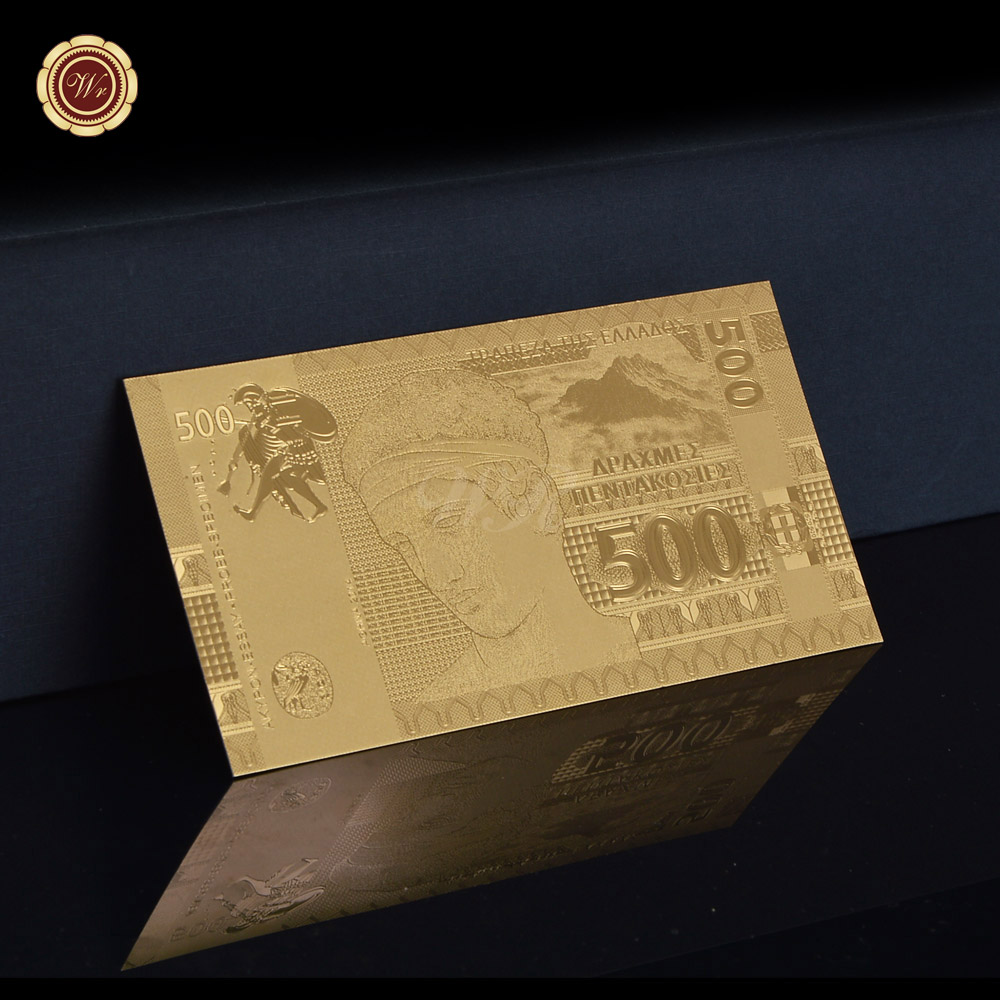 WR High Quality 24k Gold Plated Greece 500 Banknote Plastic Fake Bill Home Decor Luxury Business Gifts for Friend