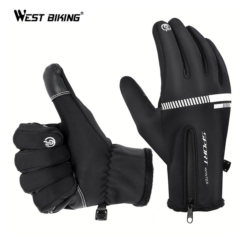 WEST BIKING Winter Gloves Cycling Gloves Thermal Warm Windproof Camping Skiing Motorcycle Gloves Touchscreen Full Finger Gloves