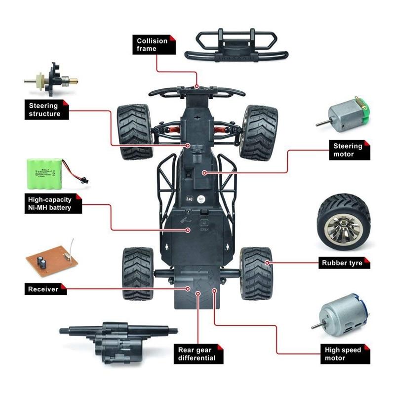 Радиоуправляемый автомобиль с дистанционным управлением, 1:16, масштаб 2,4 ГГц, гоночный грузовик, внедорожный Электрический высокоскоростно... - 4