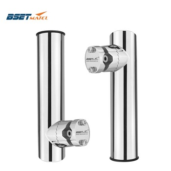2PCS Rail Mount SS316 fishing rod rack holder pole bracket support with clamp on rail 19 to32mm boat marine hardware