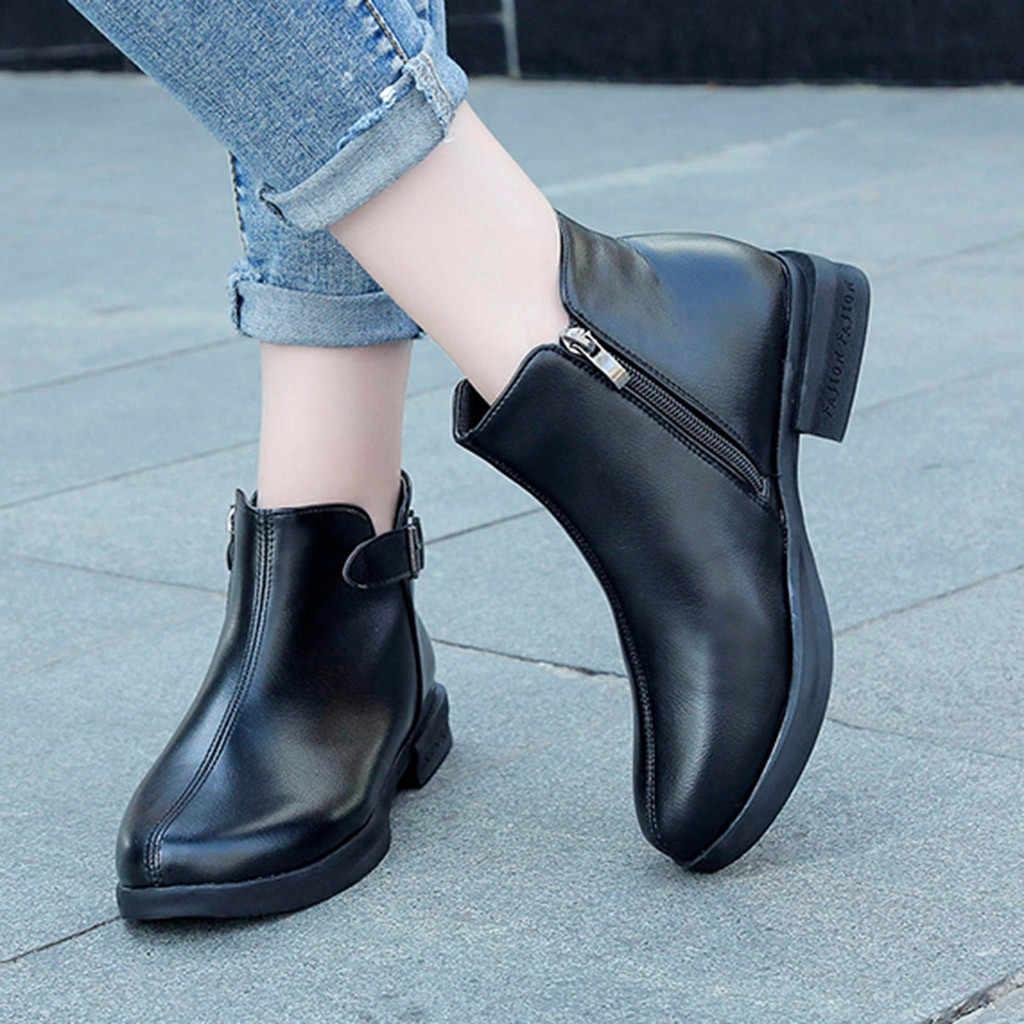 Mode Frauen Einfache Kausalen Reine Farbe Stiefeletten Runde Kappe Zipper Leder Stiefel Quadratische Fersen Vintage Schnalle Sperren Damen Stiefel