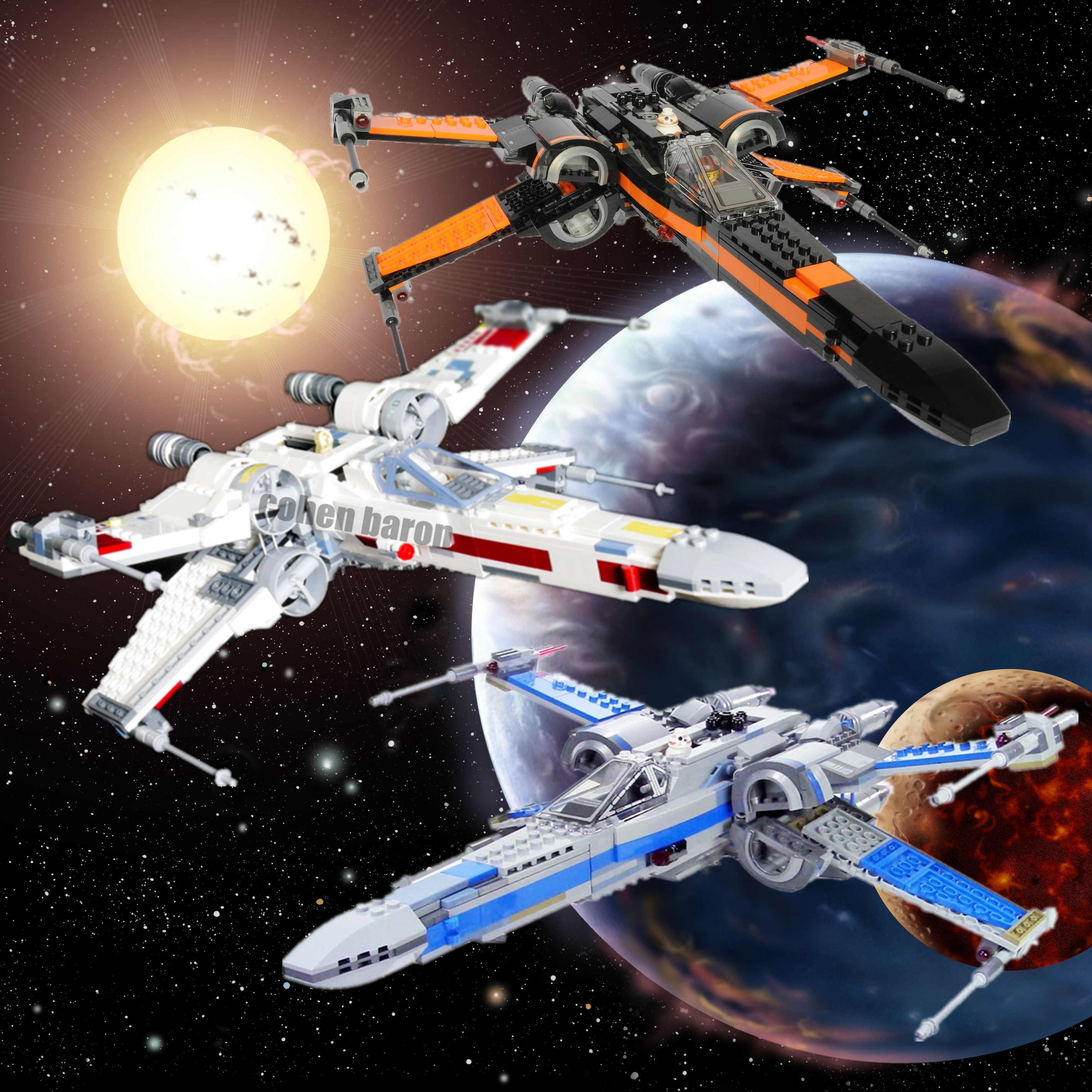 New First Order Poe's X-wing Fighter Star Wars Figures