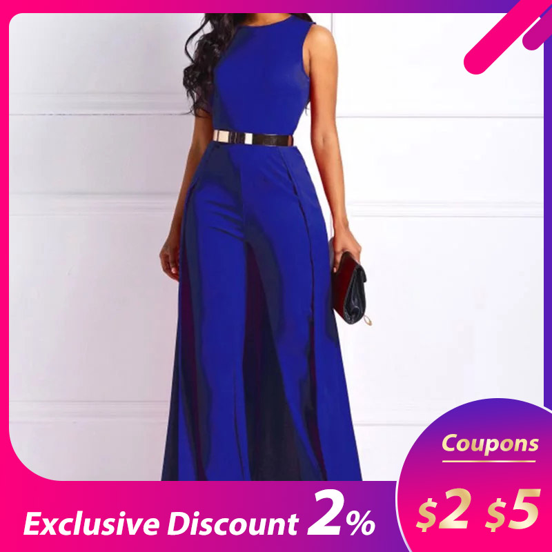 Plus Size High Waist Straight Plain Jumpsuit Women Elegant Formal Party Swallowtail Slim Ladies Wide Leg Jumpsuits