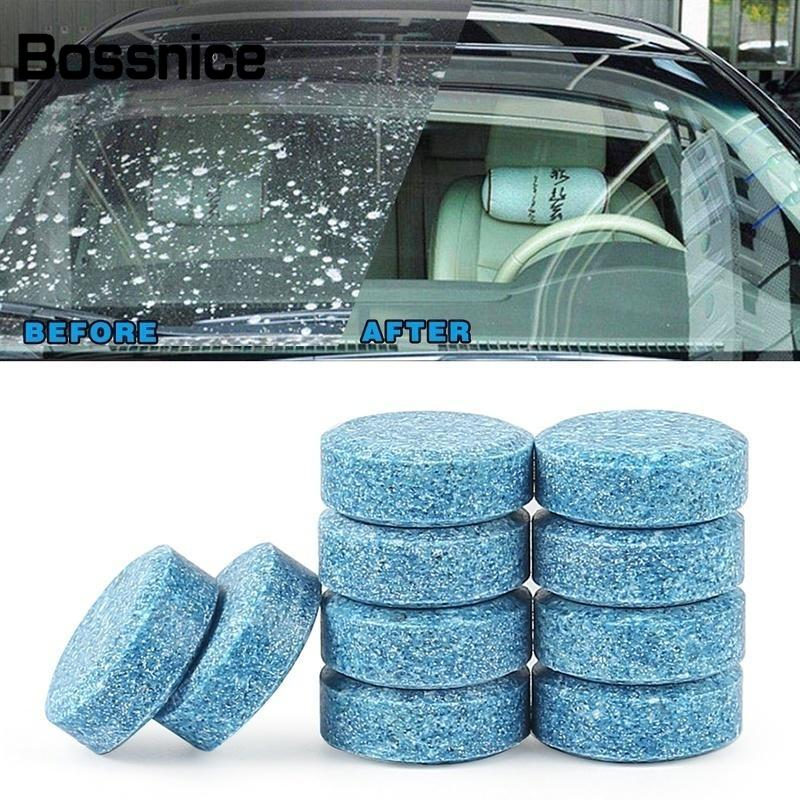 Bossnice 10pcs Car Vehicles Windshield Solid Soap Piece Window Glass Washing Cleaning Effervescent Tablets Universal Car Care