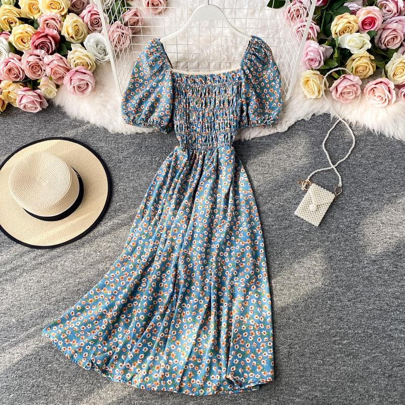 Puff Sleeve Dress Black Vintage Floral Dress Kawaii Cute Summer Dresses Party Retro Square Neck Clothes 2020 Banana Print Robe