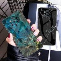 Funda de vidrio templado para Nokia 9 PureView X71 1 Plus 4,2 X7 7,1 3,1 7 8 Sirocco X6 Funda trasera dura de mármol