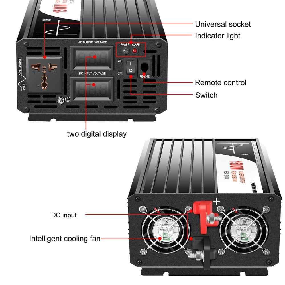 1500W czysta fala sinusoidalna falownik solarny DC 12V 24V 48V do AC 110V 220V z pilotem